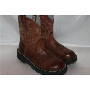 Ariat brown perf calf leather western boots